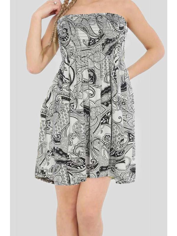 Ella Plus Size Black Paisely Printed Sheering Boobtube Top 16-26