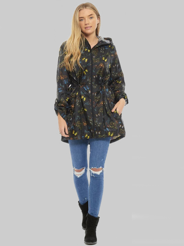 ALESHA Plus Size Multi Butterfly Printed Raincoats L-2XL