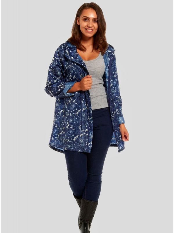 Aleeza  Plus Size Floral Lines Printed Raincoats L-2XL