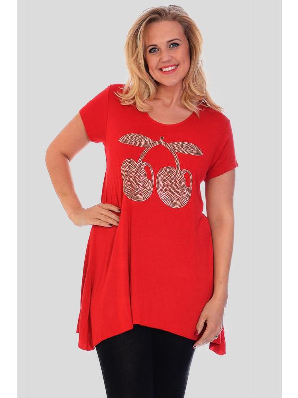 Elouise Plus Size Cherry Sequins Hem Tunic Tops 16-28