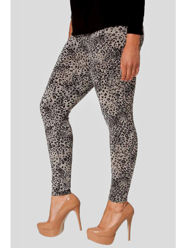 HALEEMA Grey Animal Print Skinny Stretchy Leggings 12-14