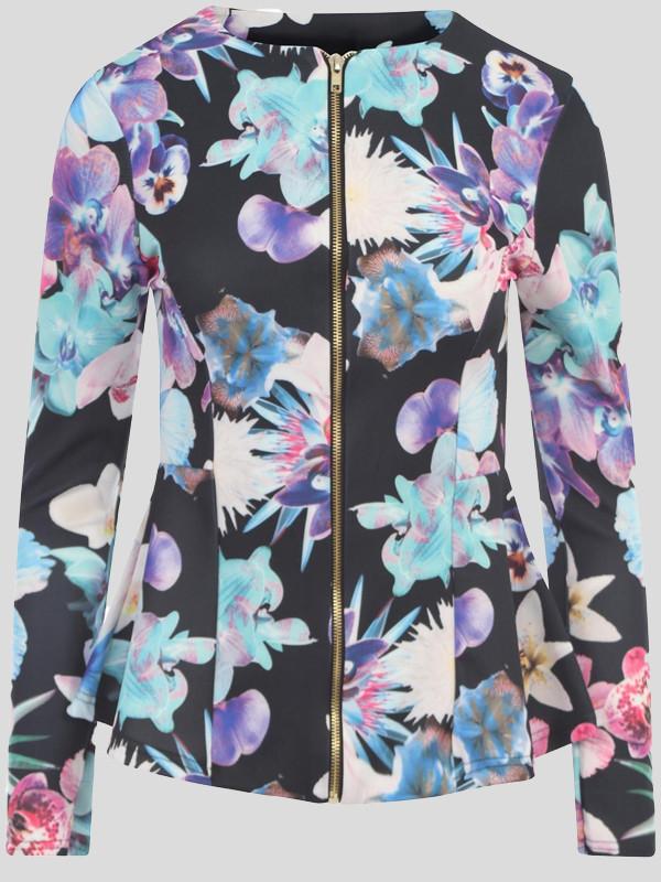 Elsa Full Sleeve Zip Peplum Blazer Jacket 8-12