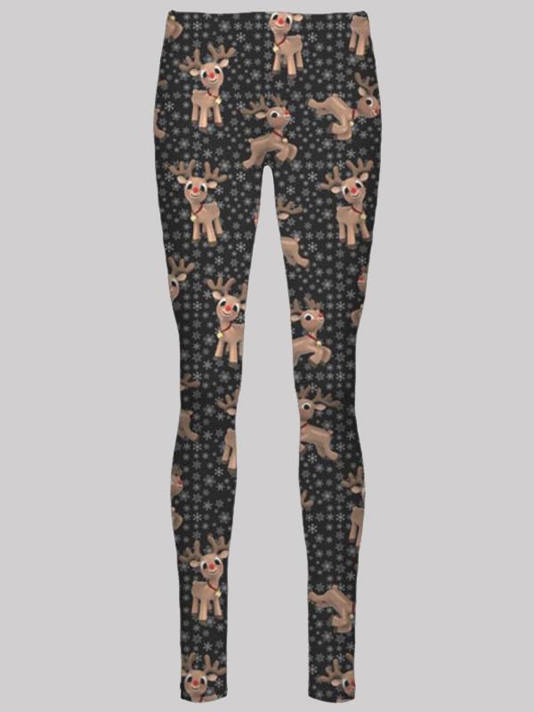 Elsie Plus Size Black Reindeer Flakes Xmas Leggings 16-34