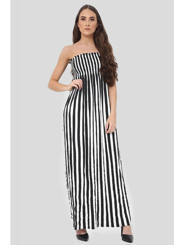 Emma Plus Size Vertical Stripe Pattern Boob Tube Maxi Dress 16-26