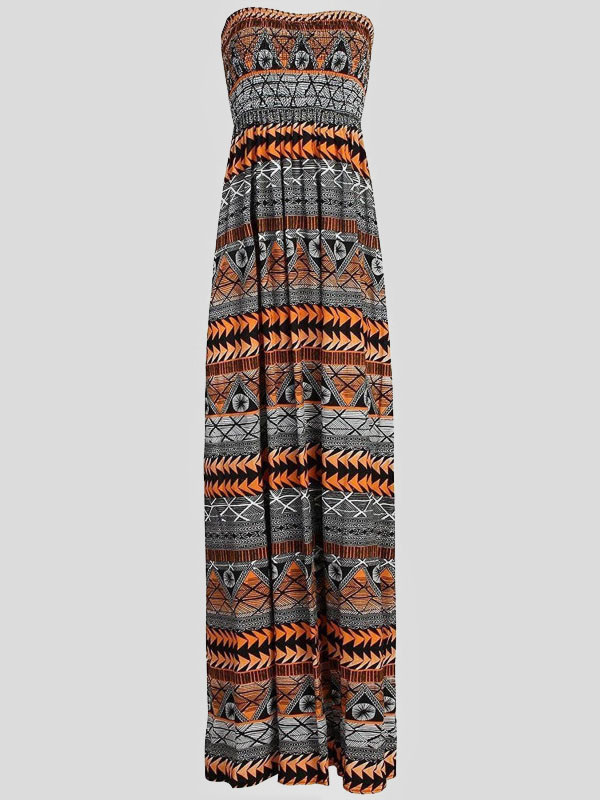 Emma Plus Size Orange Aztec Boob Tube Maxi Dress 16-26