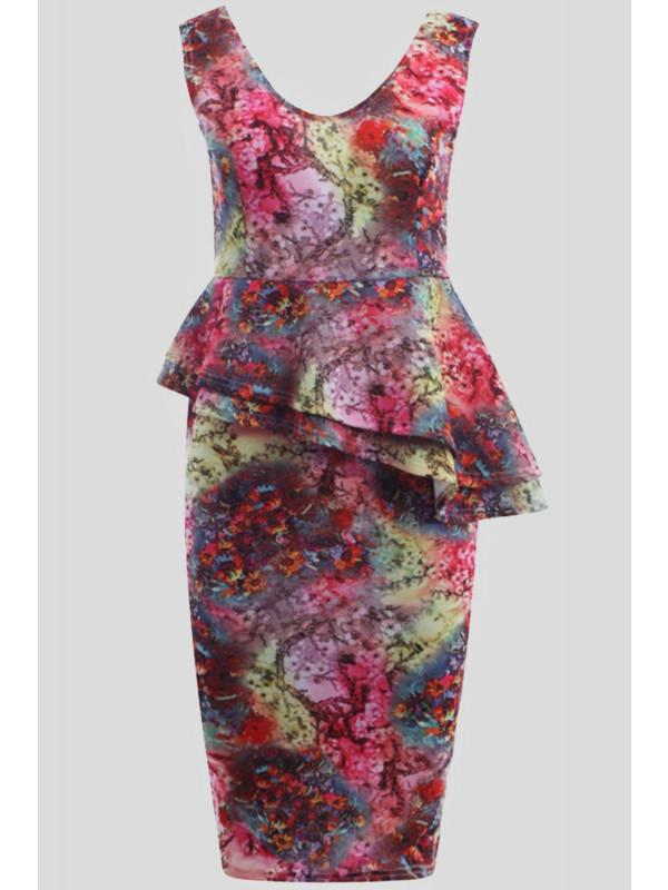 ENYA Floral Prints Bodycon Midi Dress 8-14