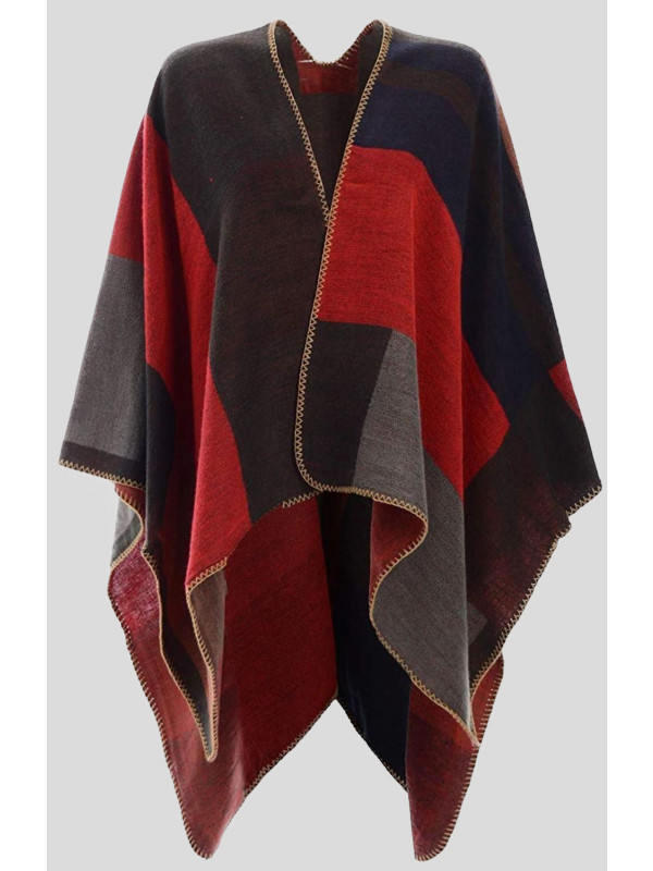 Erica Vintage Poncho Knitted Checked Cape Cardigan
