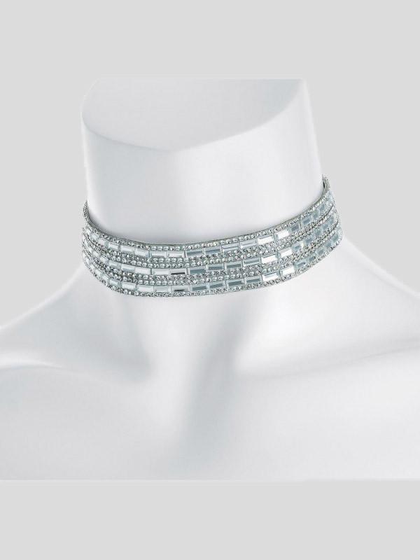 Esme Rhodium Color Heat Seal Crystal Choker Necklace