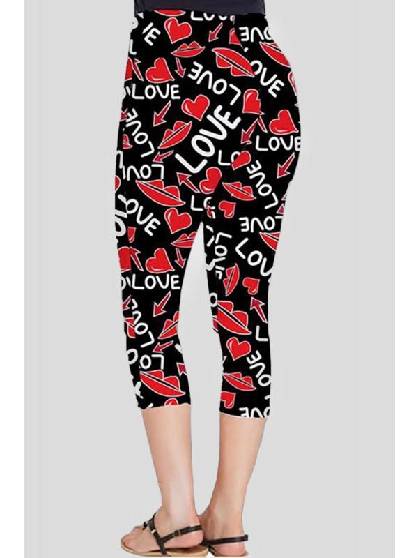 Esme Plus Size Love Lips Printed 3/4 Leggings 16-26