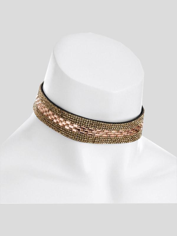 Eva Topaz Crystal Color Heat Seal Choker Necklace