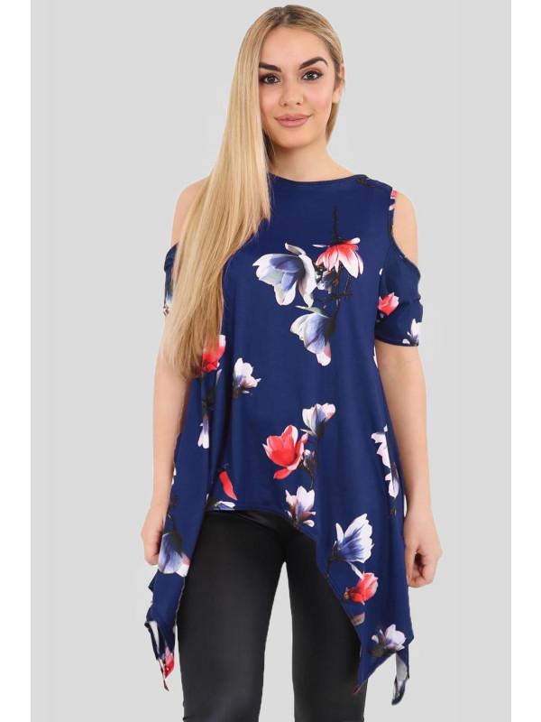 Evie Cold Shoulder Hanky Hem Floral Royal Blue Tops 8-14