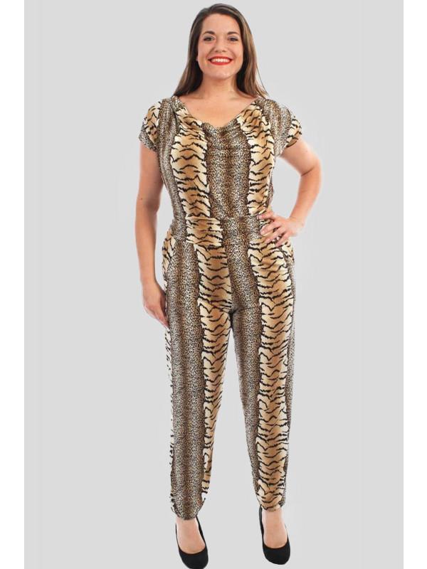 Evelina Leopard Print Jumpsuits 14-16