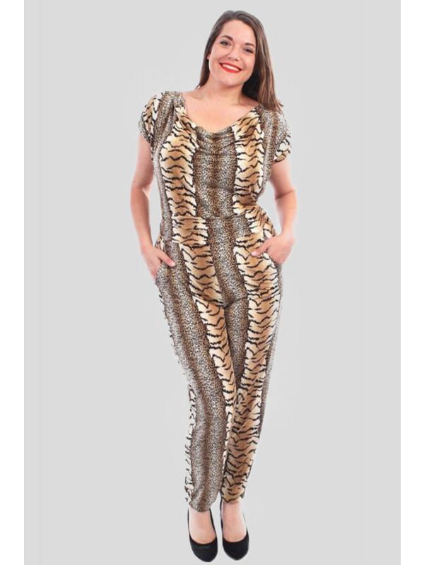 Freya Plus Size Leopard Print Jumpsuits 16-28