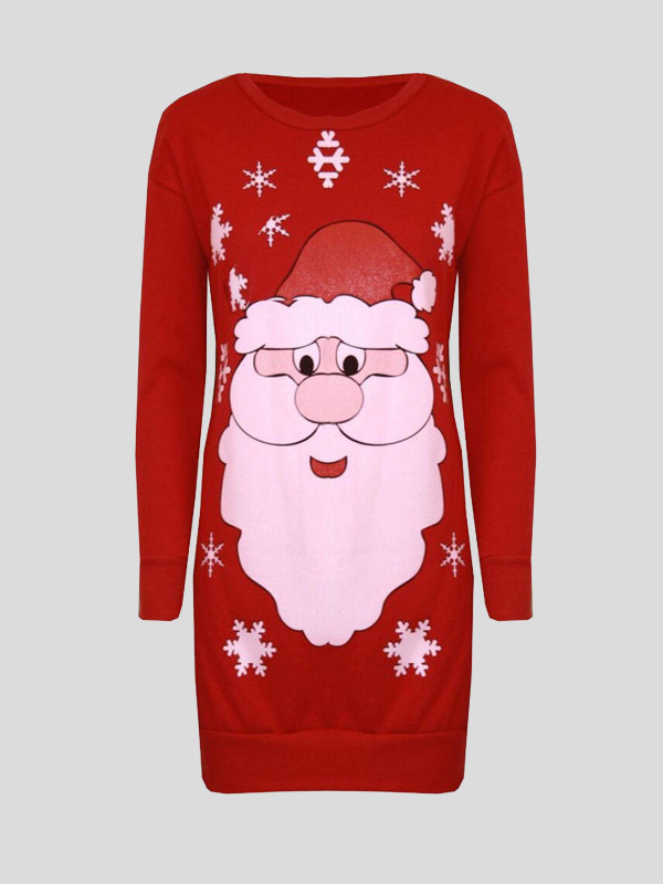 Elif Plus Size Santa Face Print Xmas Jumpers 16-22