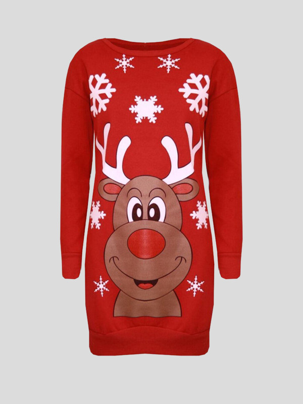 Esmay Plus Size Reindeer Face Print Xmas Jumpers 16-22