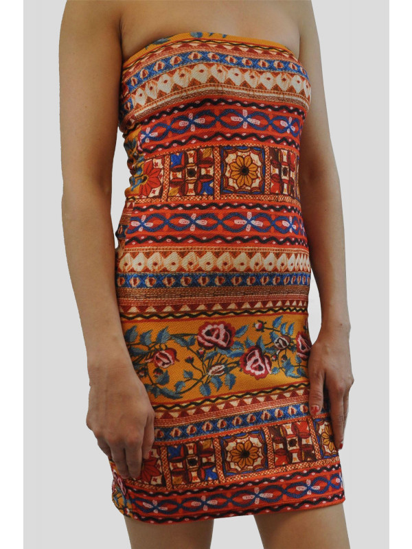 EMILIJA Orange Aztec Bodycon Dress 8-14