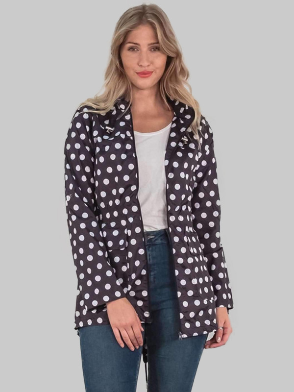 Hannah Plus Size Spot Print Fish Tail Roll Up Polyester Mac Jacket 18-24