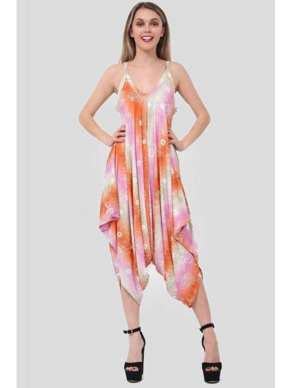 Hannah Plus Size Orange Floral Printed Lagenlook Jumpsuit 16-26