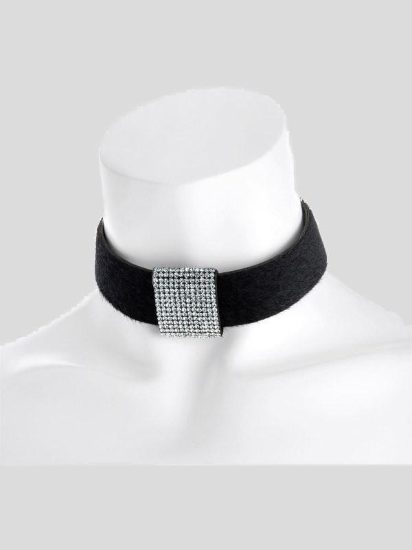 Harriet Centre Rhodium Black Velvet Look Heat Seal Necklace