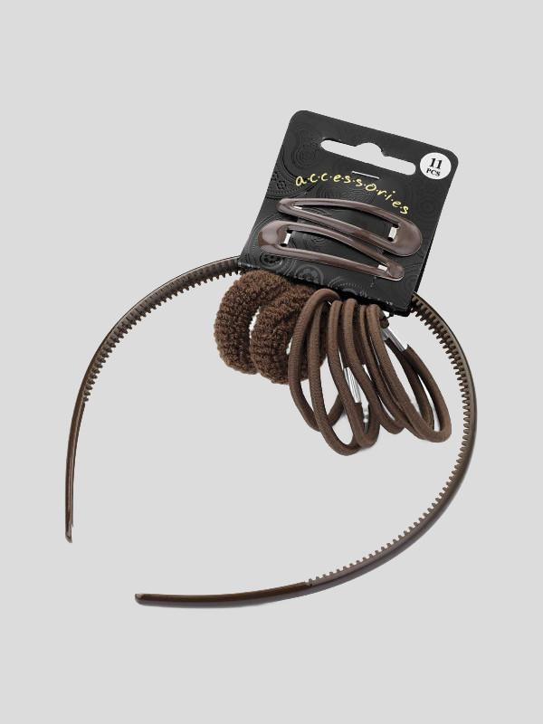 Imani 11 Piece Ponio Headband Snap Clip Hair Elastic