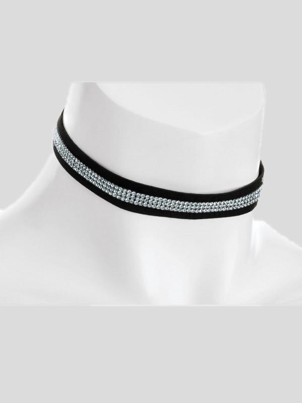 Imogen Velvet Look Crystal Choker Necklaces