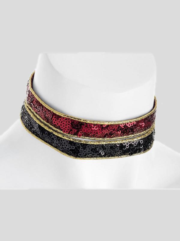 Iris Black Burgundy Color Choker Necklace