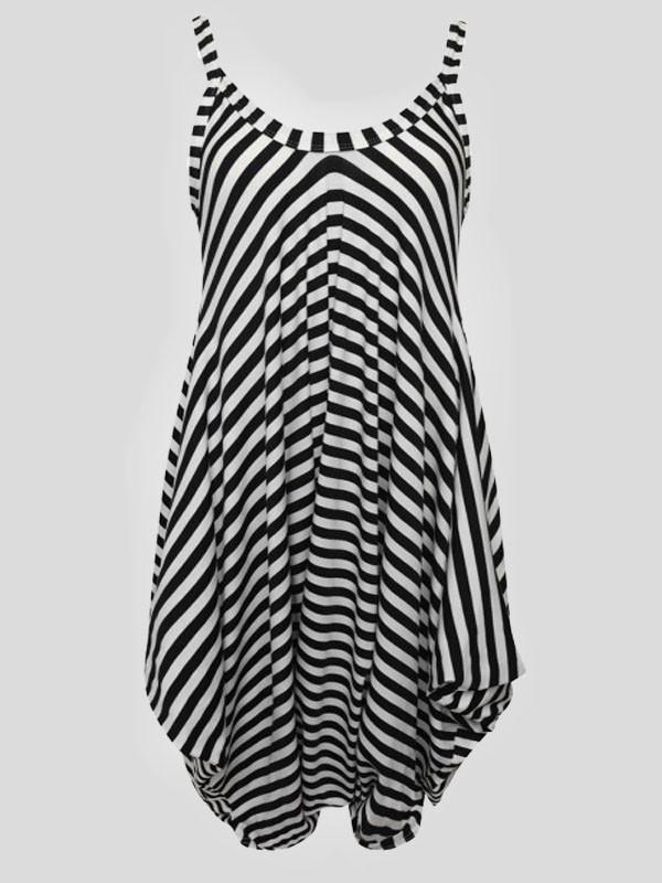 Isla Plus Size Mono Stripe Printed Lagenlook Jumpsuit 16-26