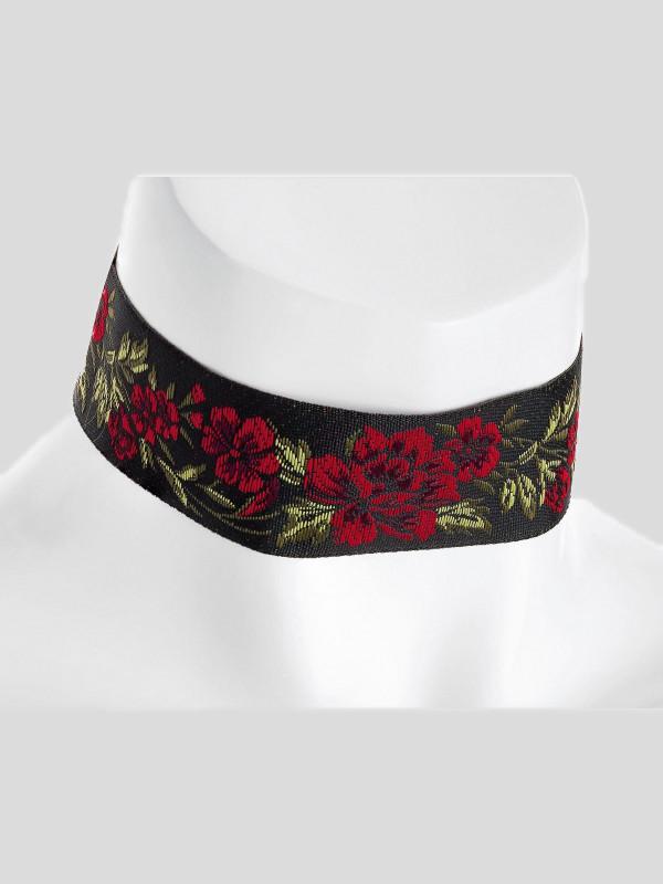 Isla Red Rose Design Choker Necklace