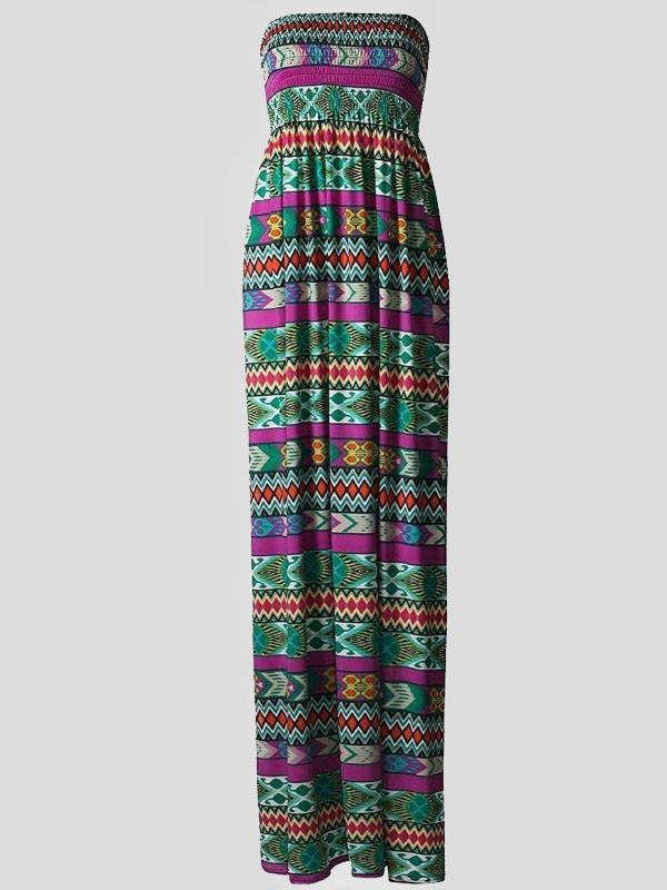 ISRA Diamond Strapless Boob Tube Maxi Dress Green 8-14