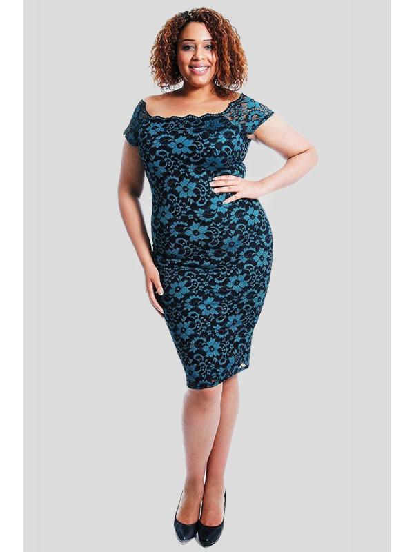 Hiba Floral Lace Line Bodycon Midi Dress 14-16