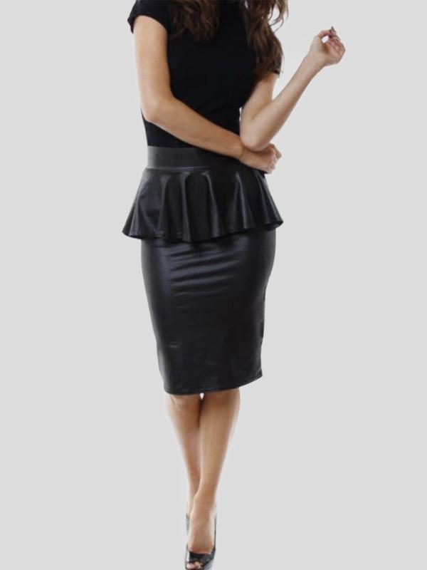 Jade Plus Size Wetlook Peplum Skirt 16-26