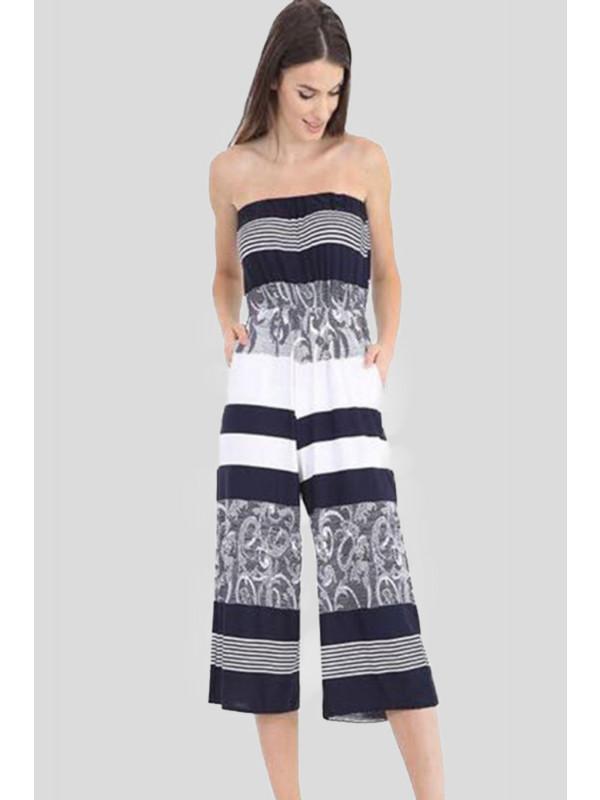 Alice Plus Size Black N White Printed Jumpsuits 16-26