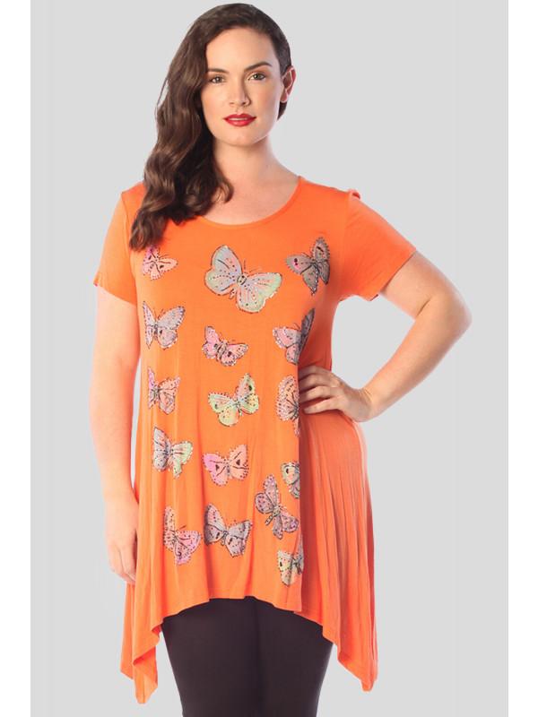 Lila Plus Size Hanky Hem Ladies Butterfly Sequin Print Tops 16-24