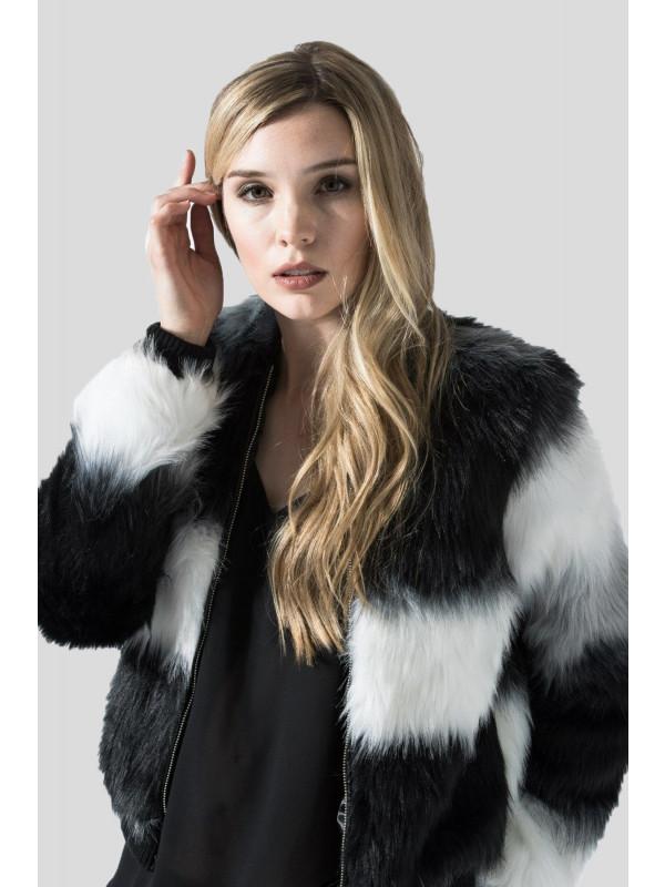 Kaitlin Color Block Long Pile Stripe Fur Jacket Coats 8-16