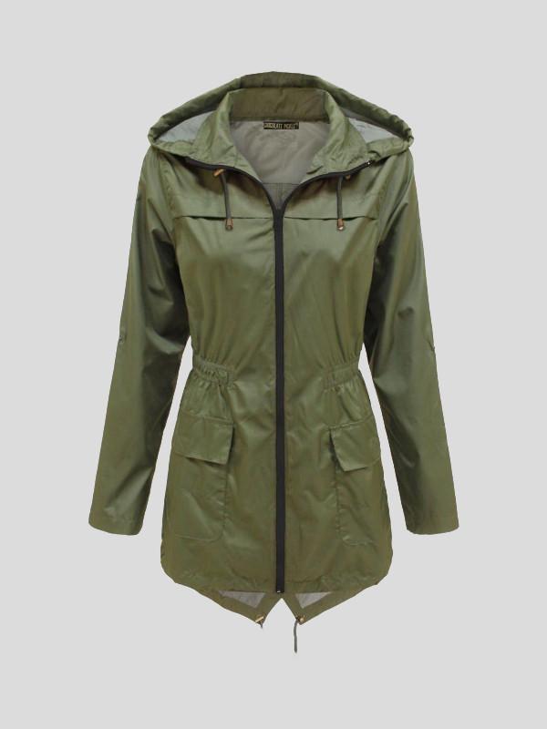 Kat Showerproof Plain Zip Mac Parka Rain Jacket 8-16