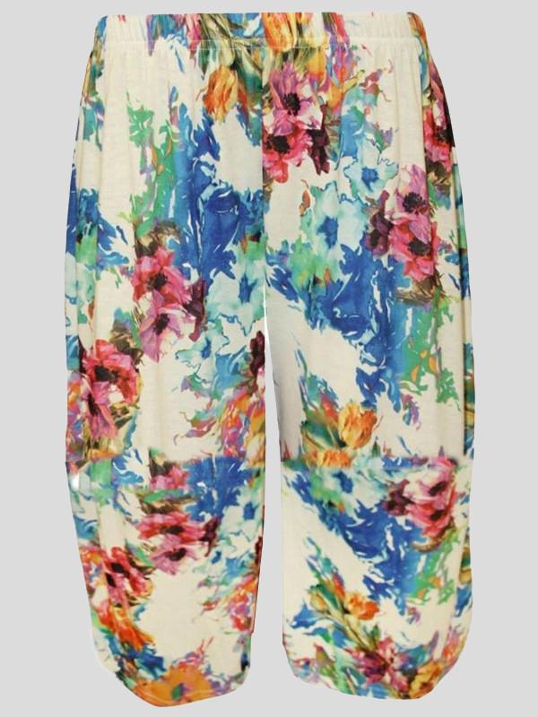 Katelyn Plus Size Cream Floral Print Palazzo 16-26