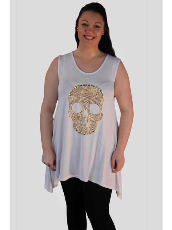 Kathy Sequin Skull Design Vest Top 14-16