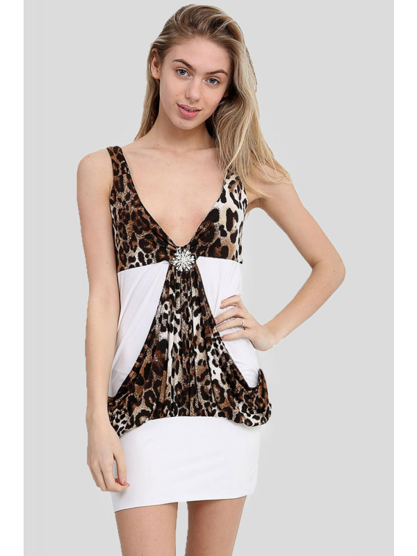 Kayla Strappy Animal Print Stretch Bodycon dress 8-14