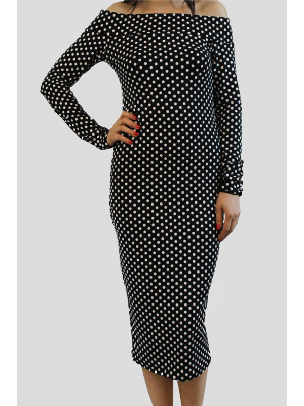 KAYLEIGH  Black Polka Dot Off Shoulder Midi Dress 8-14