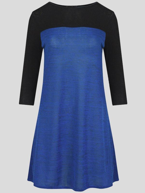 Kiera ¾ Sleeve Contrast Color Skater Dress 8-14