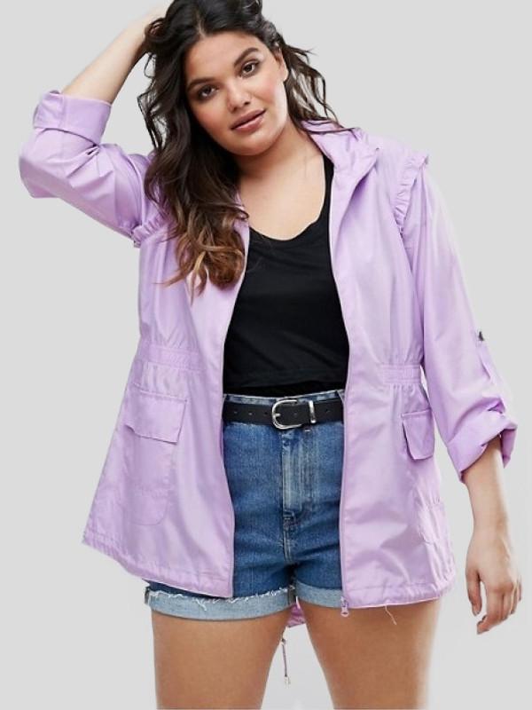 Marwa Plus Size Detachable Hooded Waterproof Raincoats 16-22
