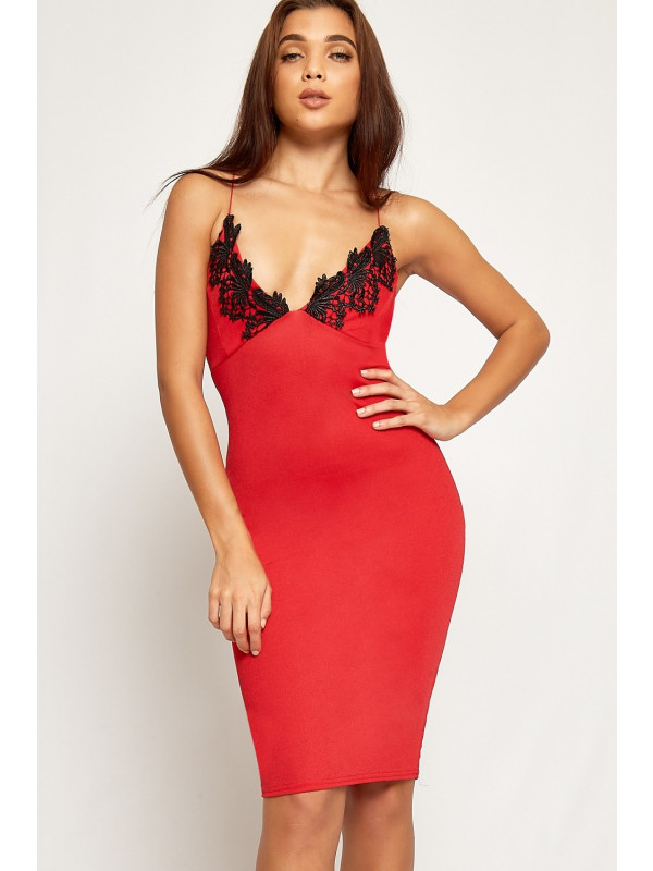 Lily Crochet Lace Trim Bodycon Midi Dress 8-14