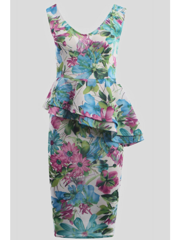 LISA Floral Prints Bodycon Midi Dress 8-14