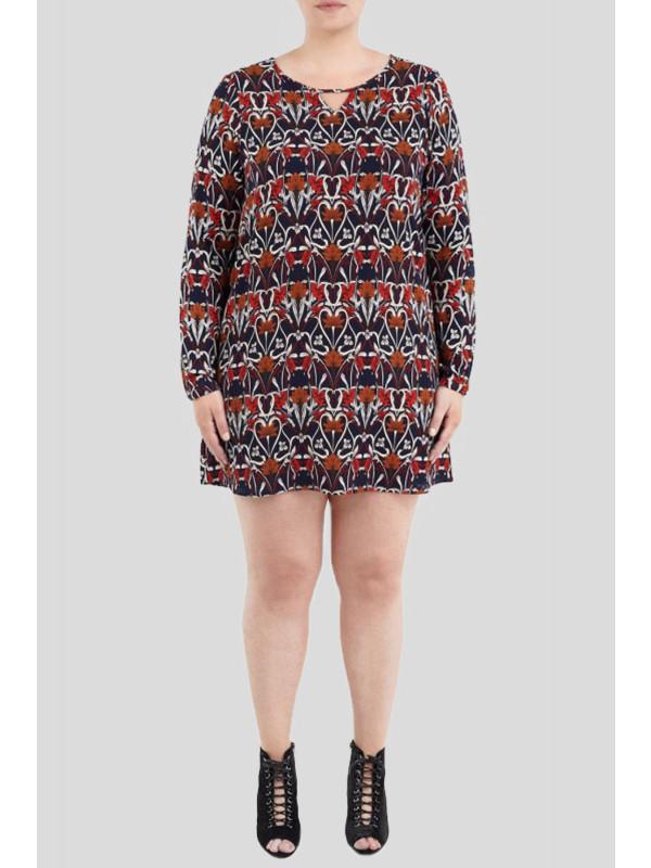 Lola Plus Size Retro Print With V Cut Mini Dress 16-22