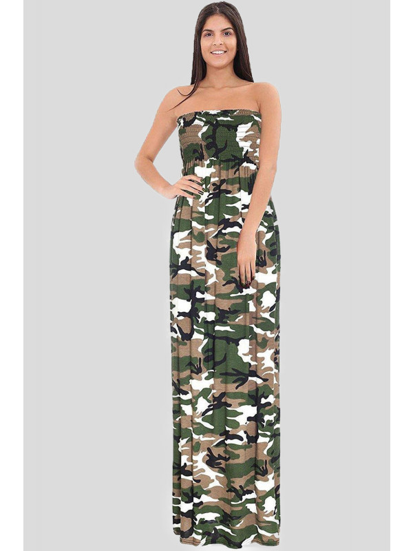 RONNIE Army Boob Tube Maxi Dress 8-14