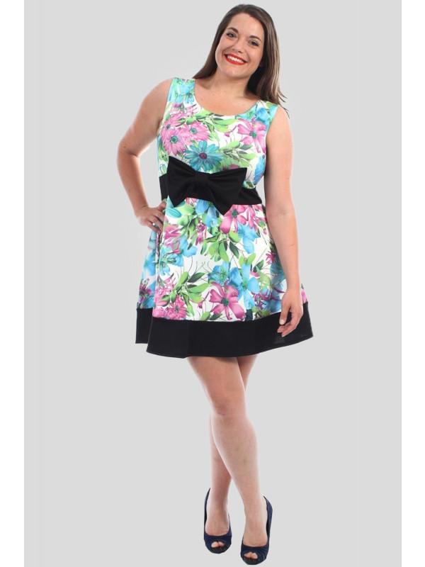 73c6e00e80 Maya Plus Size Bow Skater Floral Dress 16-22