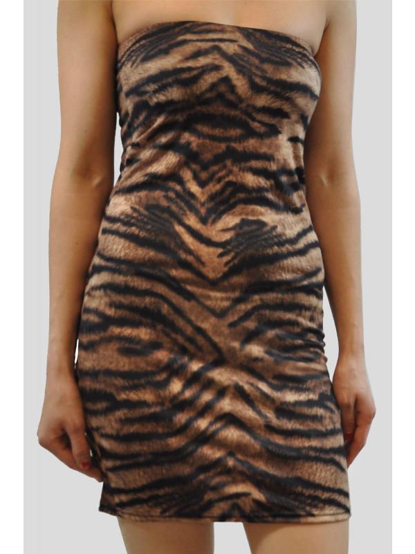 AMNA Tiger Print Bodycon Mini Dress 8-14