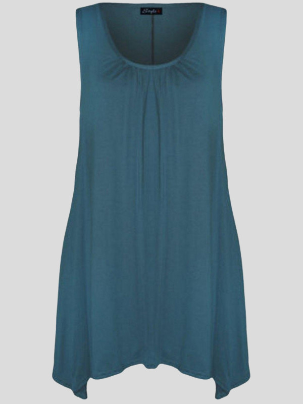 Malaya Plus Size Uneven Dip Hem Sleeveless Fitted Tunic top 16-26