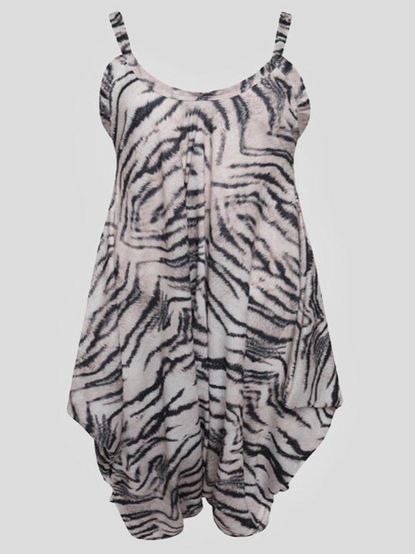 Maryam Plus Size Tiger Printed Baggy Lagenlook Jumpsuit 16-26