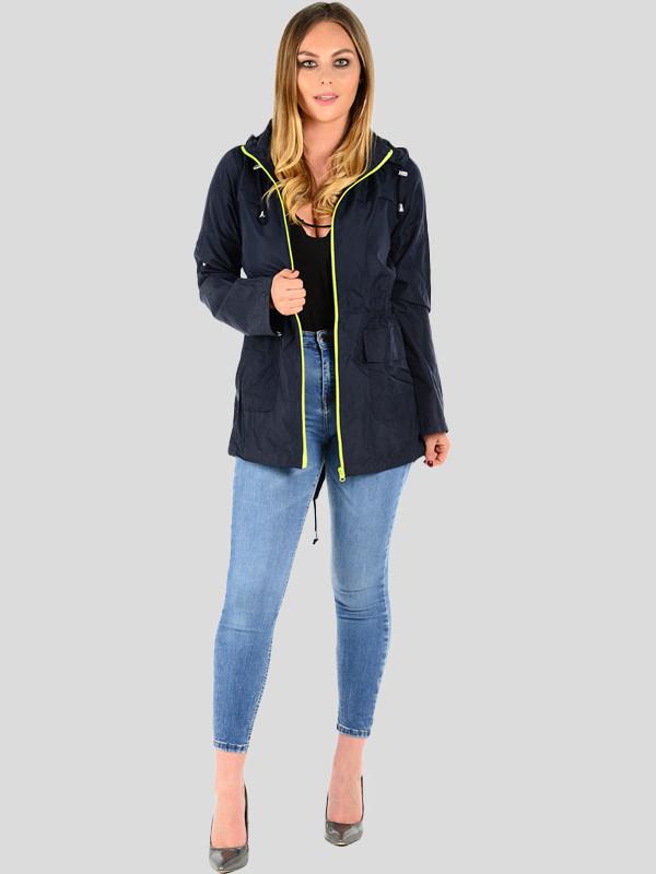 Maya Contrast Neon Zip Hooded Fish Tail Showerproof Jacket 8-16